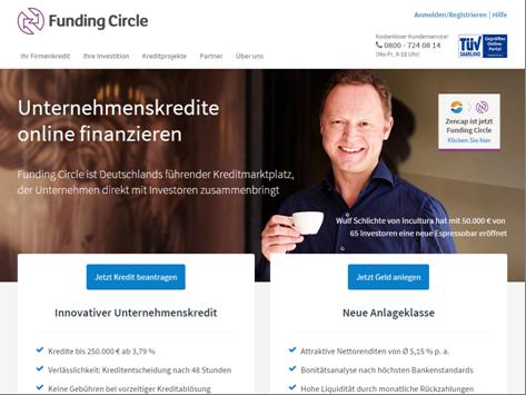Startseite von Funding Circle