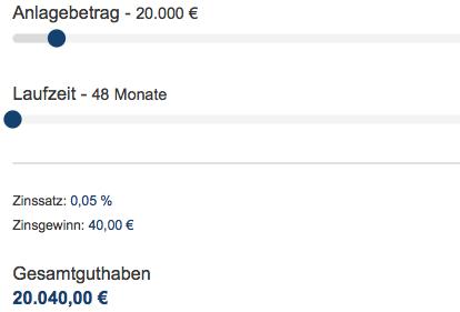 Anlagebetrag 20.000 Euro Festgeldrechner