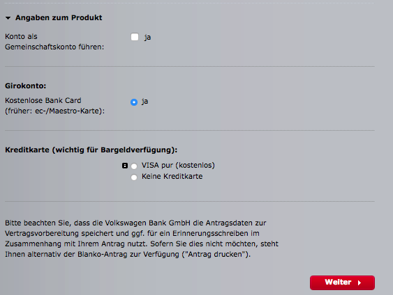 Online-Antrag Audi Bank Girokonto