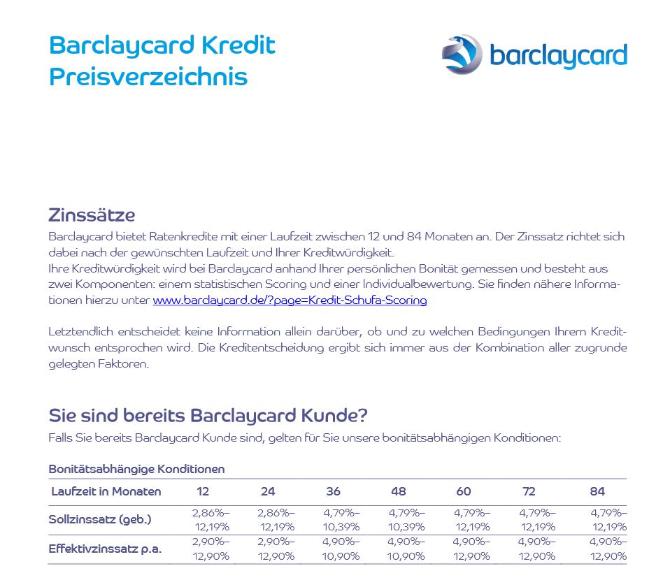 Das Preisverzeichnis des Barclaycard Autokredits