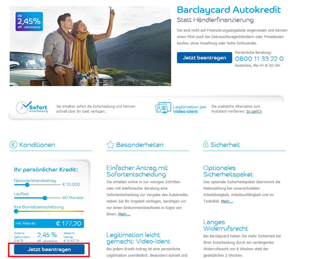 Der Barclaycard Autokredit mit Kreditrechner