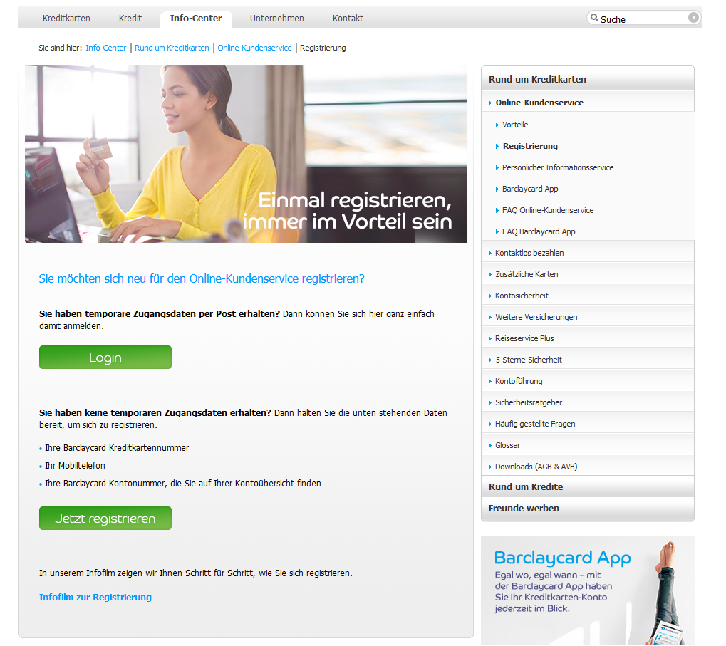 Der Zugang zum Online-Kundenservice von Barclaycard