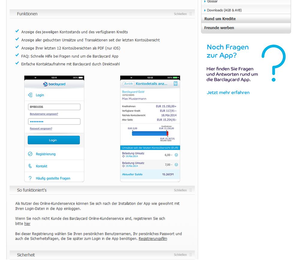 Die Benutzeroberfläche der Barclaycard App