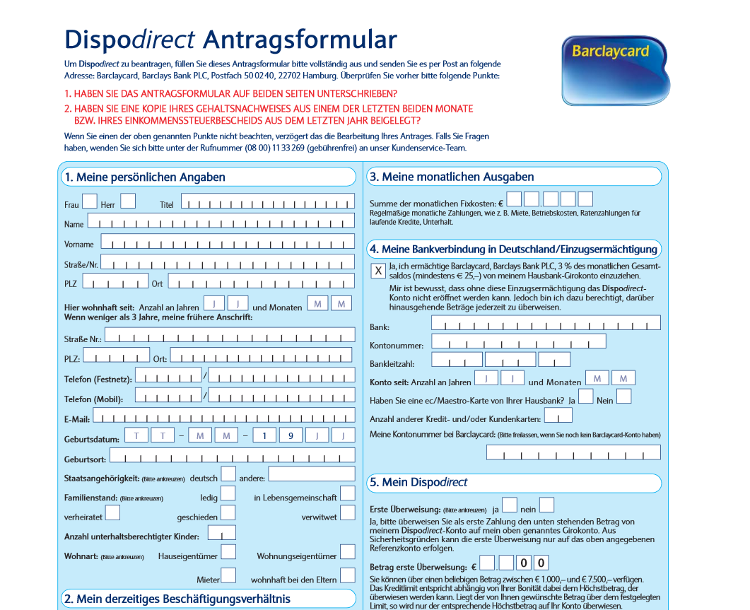 Das Antragsformular für Dispodirect
