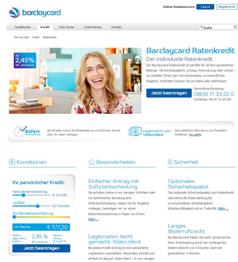 Der Barclaycard Ratenkredit auf einen Blick