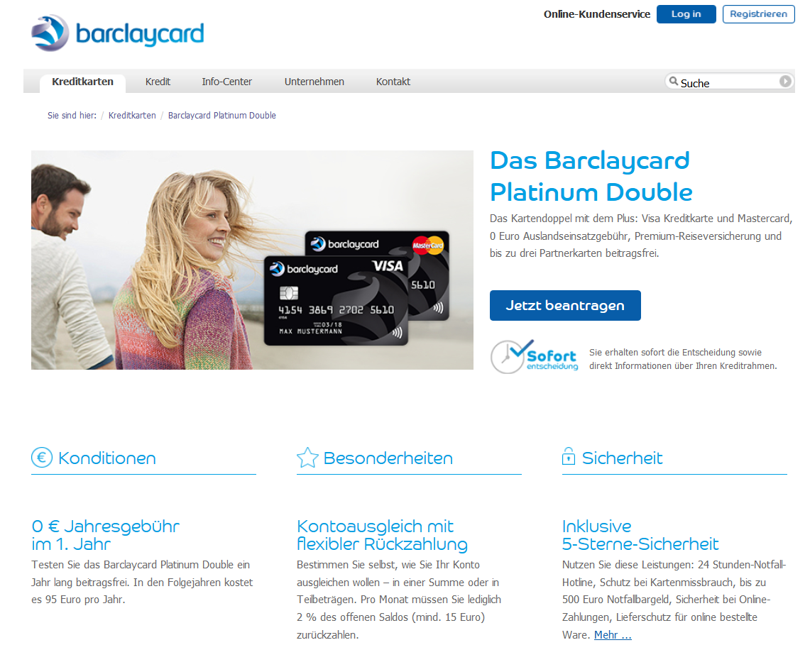 Die Barclaycard MasterCard im Platinum Double
