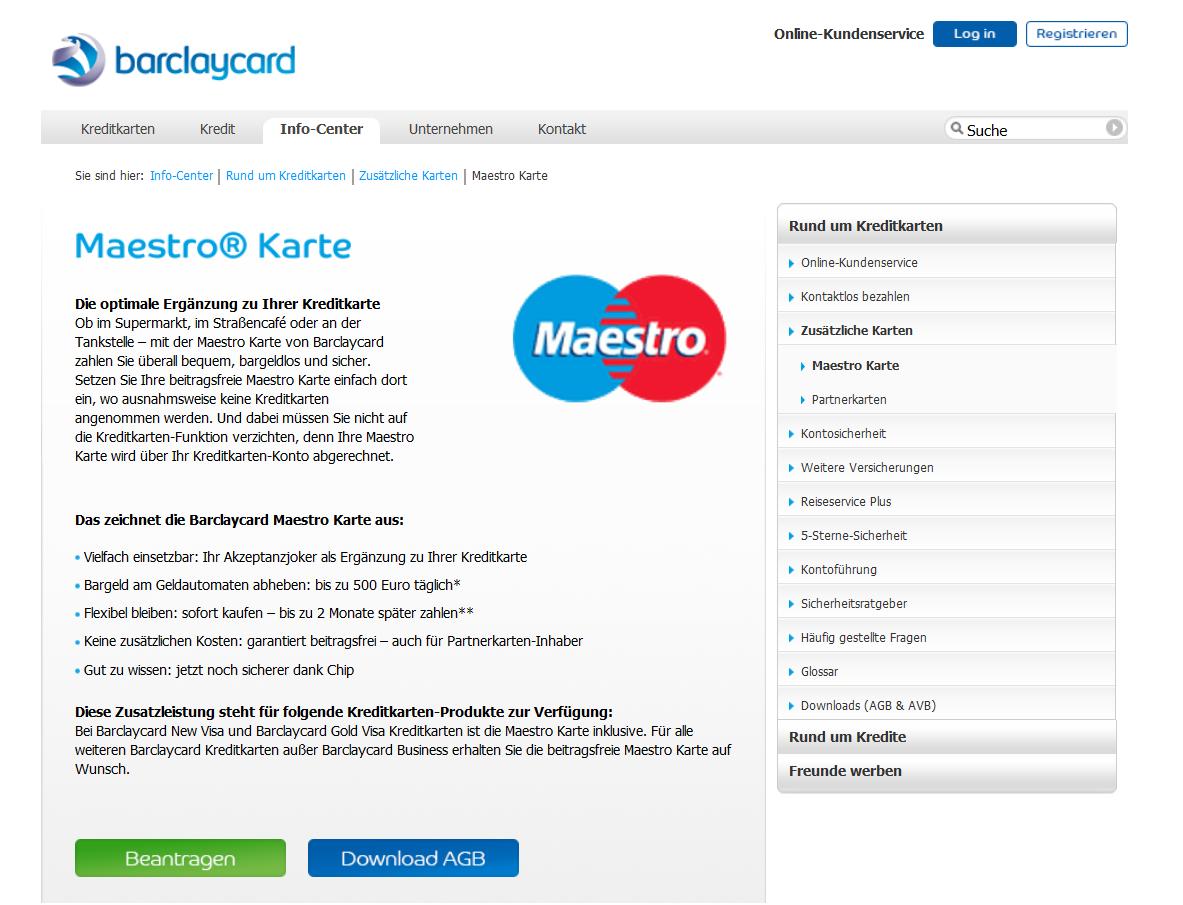 Die Maestro-Karte von Barclaycard