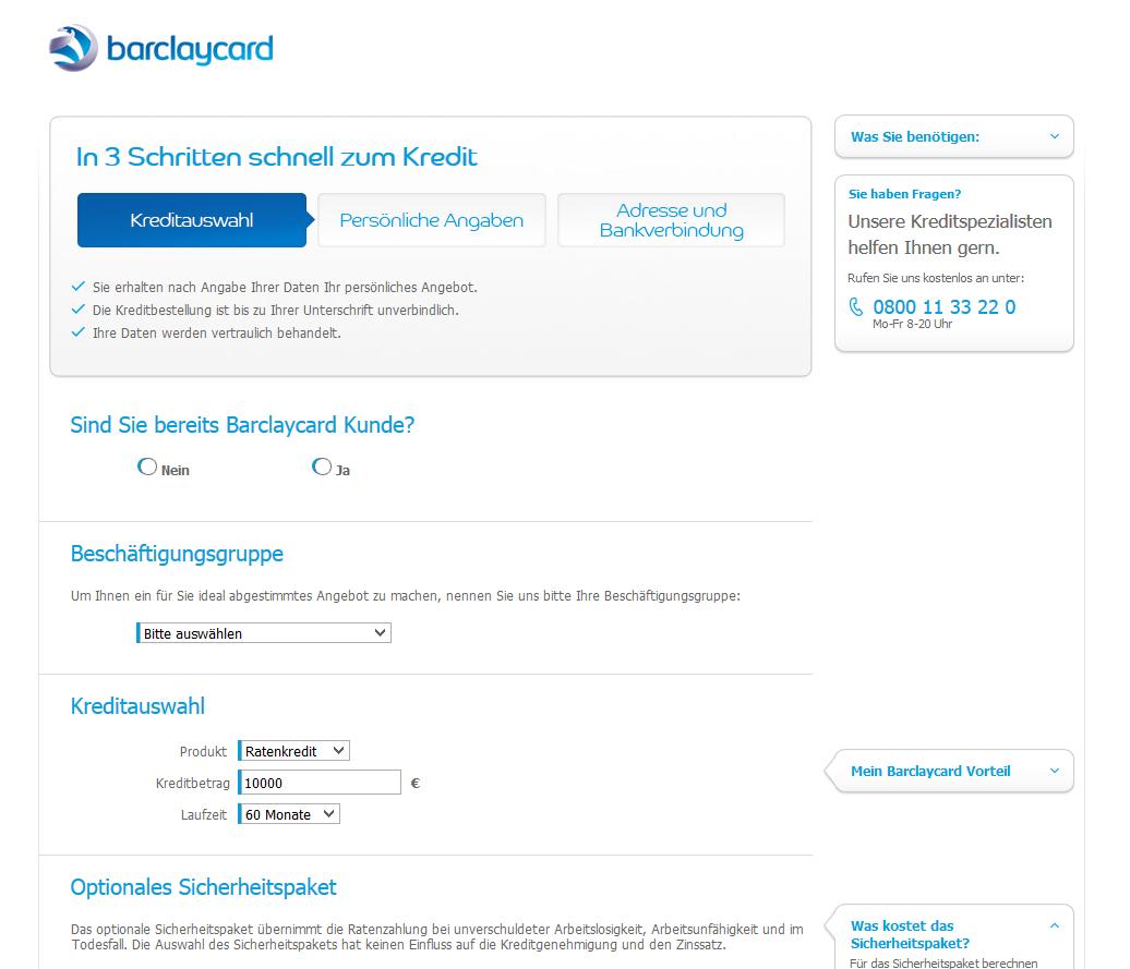 Das Antragsformular von Barclaycard