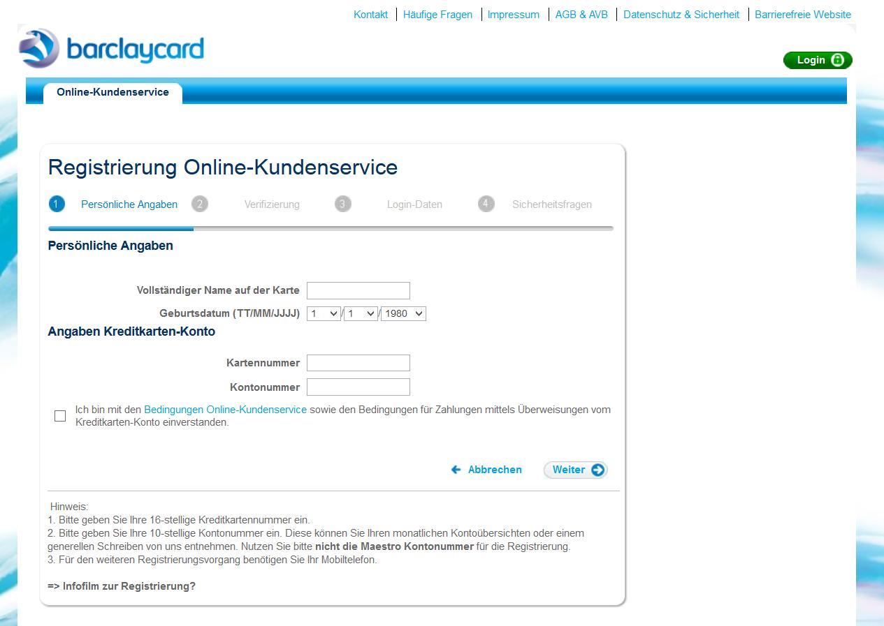 Das Online-Formular für die Barclaycard Registrierung