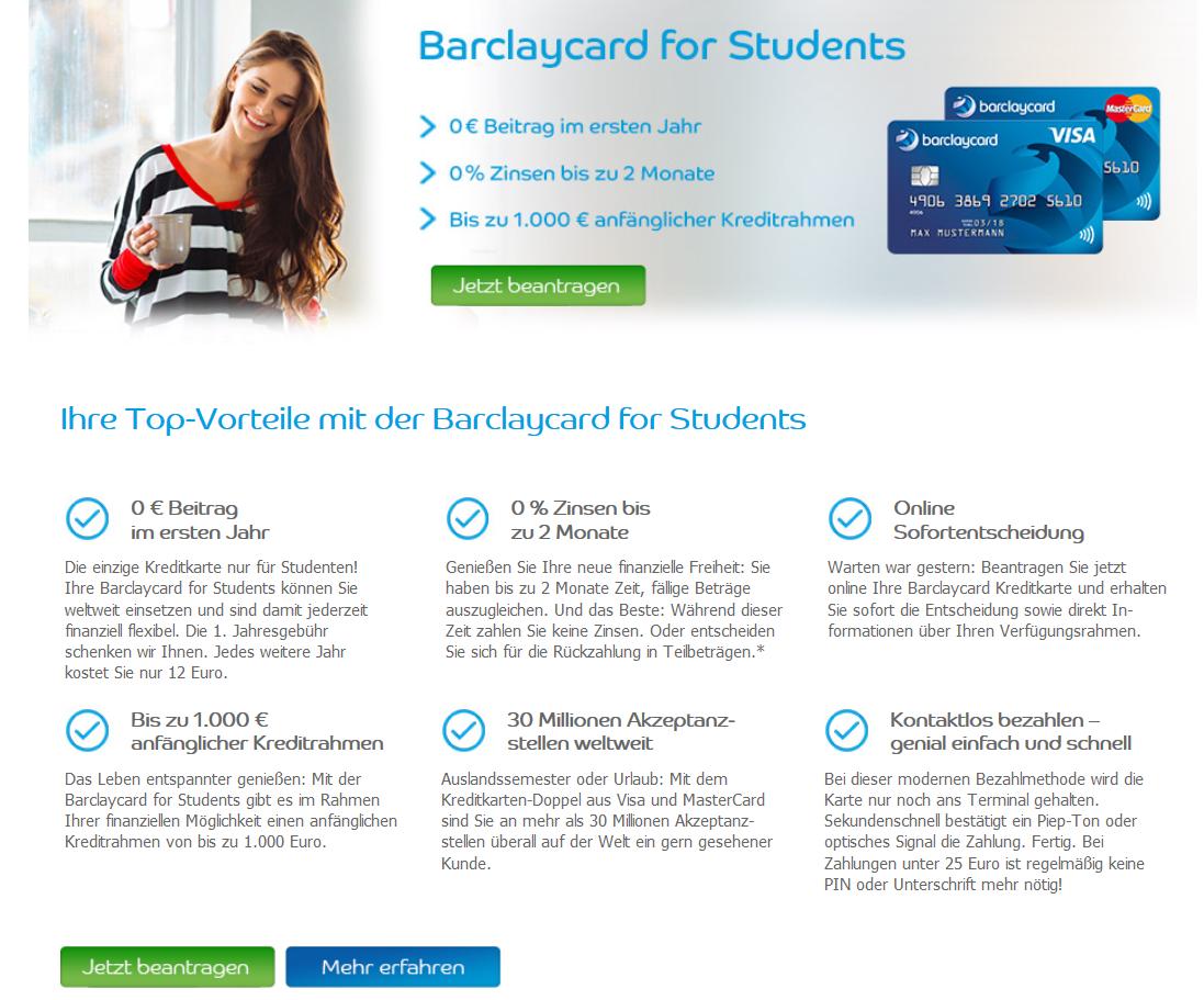 Die Barclaycard Student und ihre Vorteile