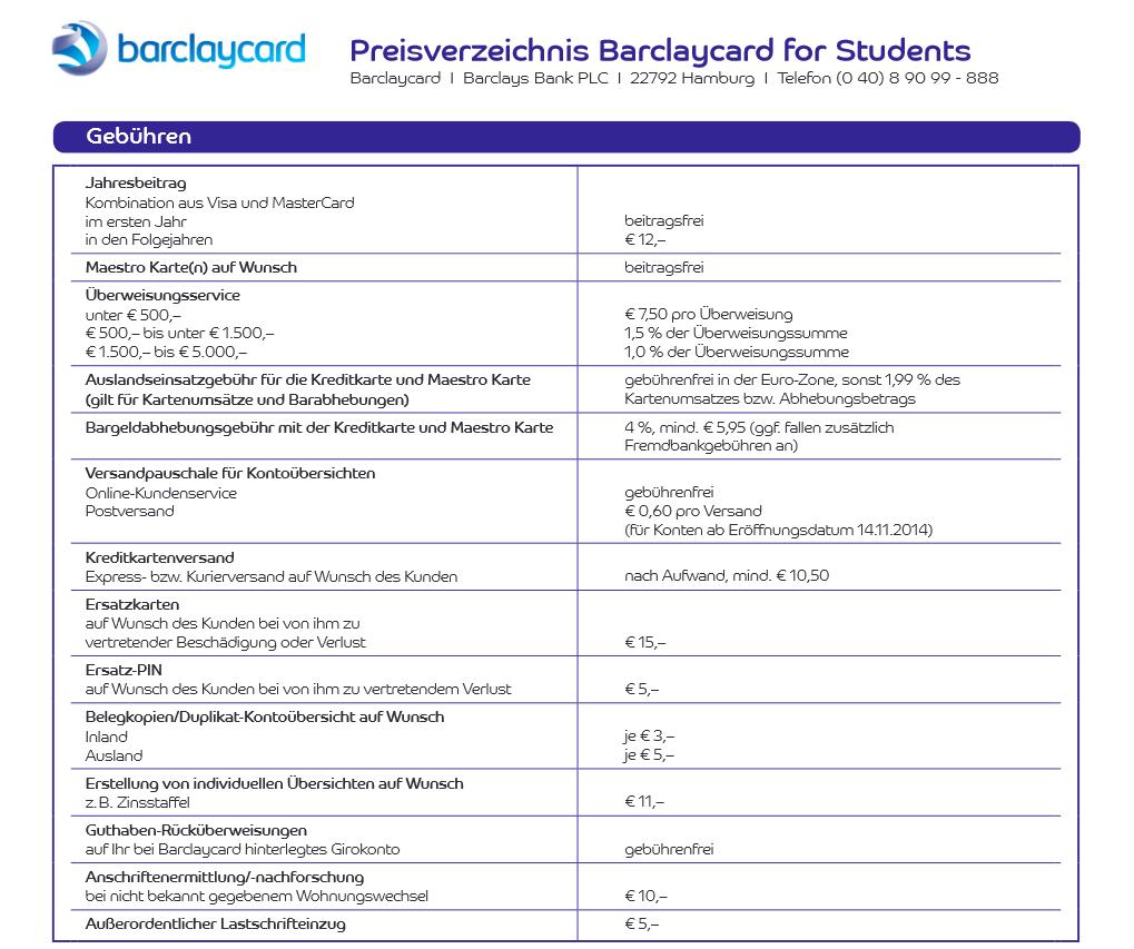 Das kleine Preisverzeichnis der Barclaycard for Students
