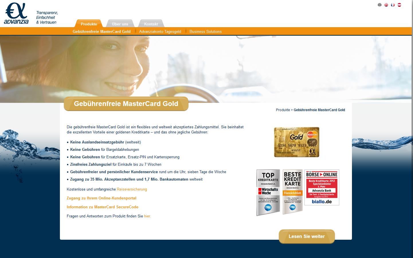 Informationen zur gebührenfreien MasterCard Gold