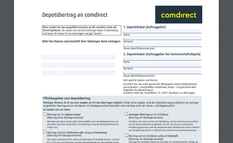 Das Depotübertragsformular von Comdirect