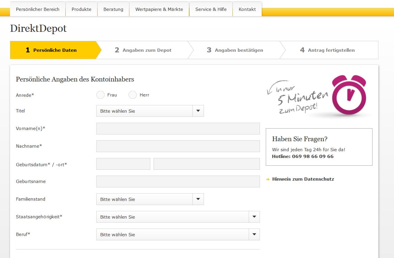 Das Online-Formular für die Eröffnung des DirektDepots