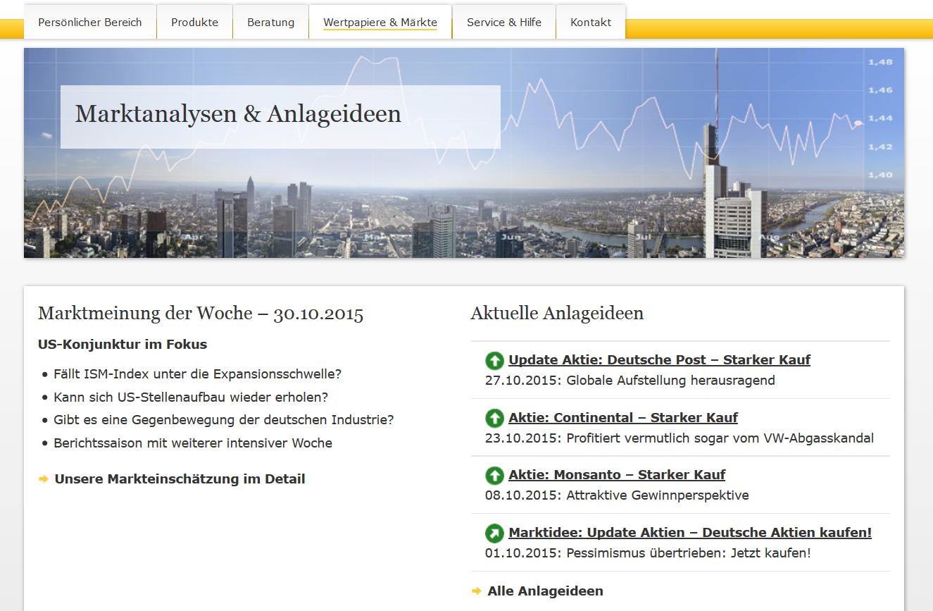 Das Analyseangebot der Commerzbank