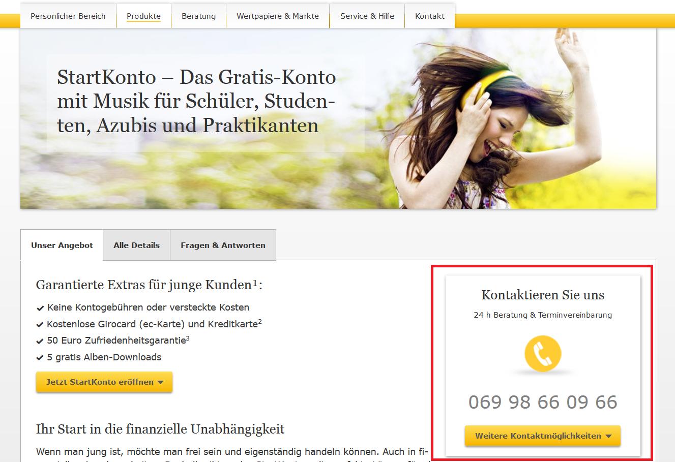 Die Telefonhotline der Commerzbank