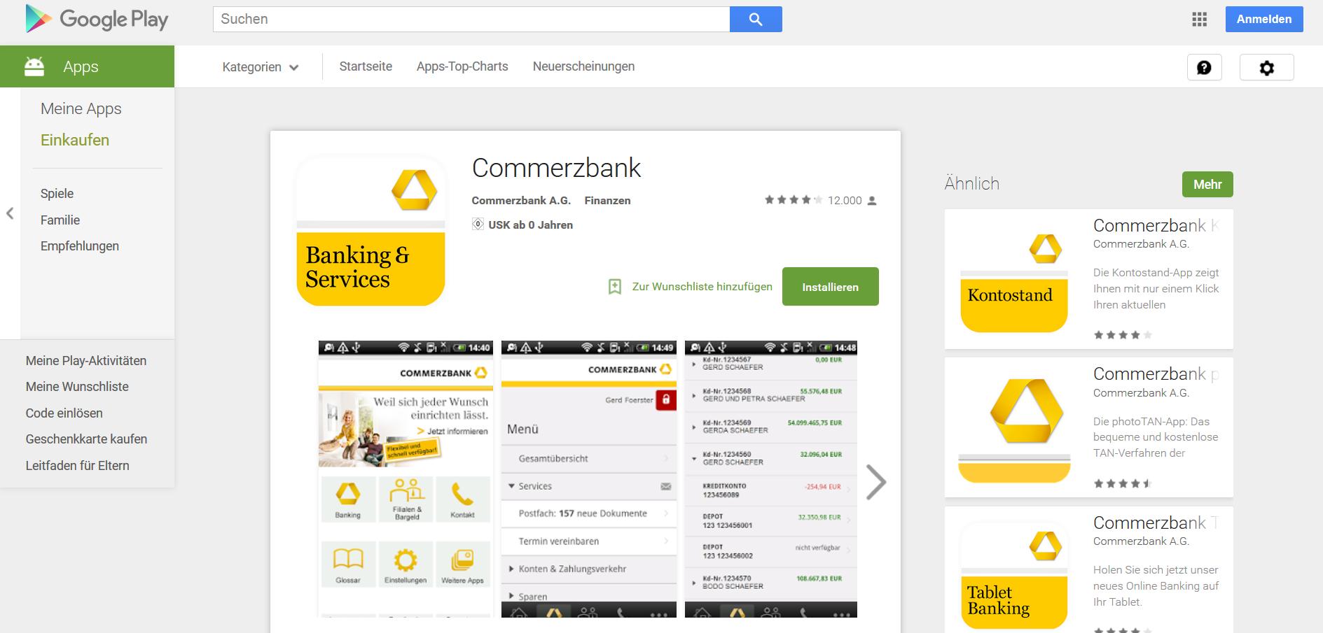 Die Banking & Services-App für Android-Smartphones