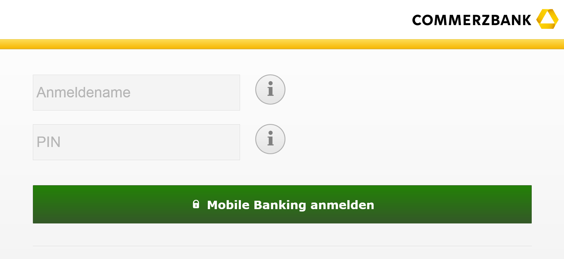 Die mobile Website der Commerzbank