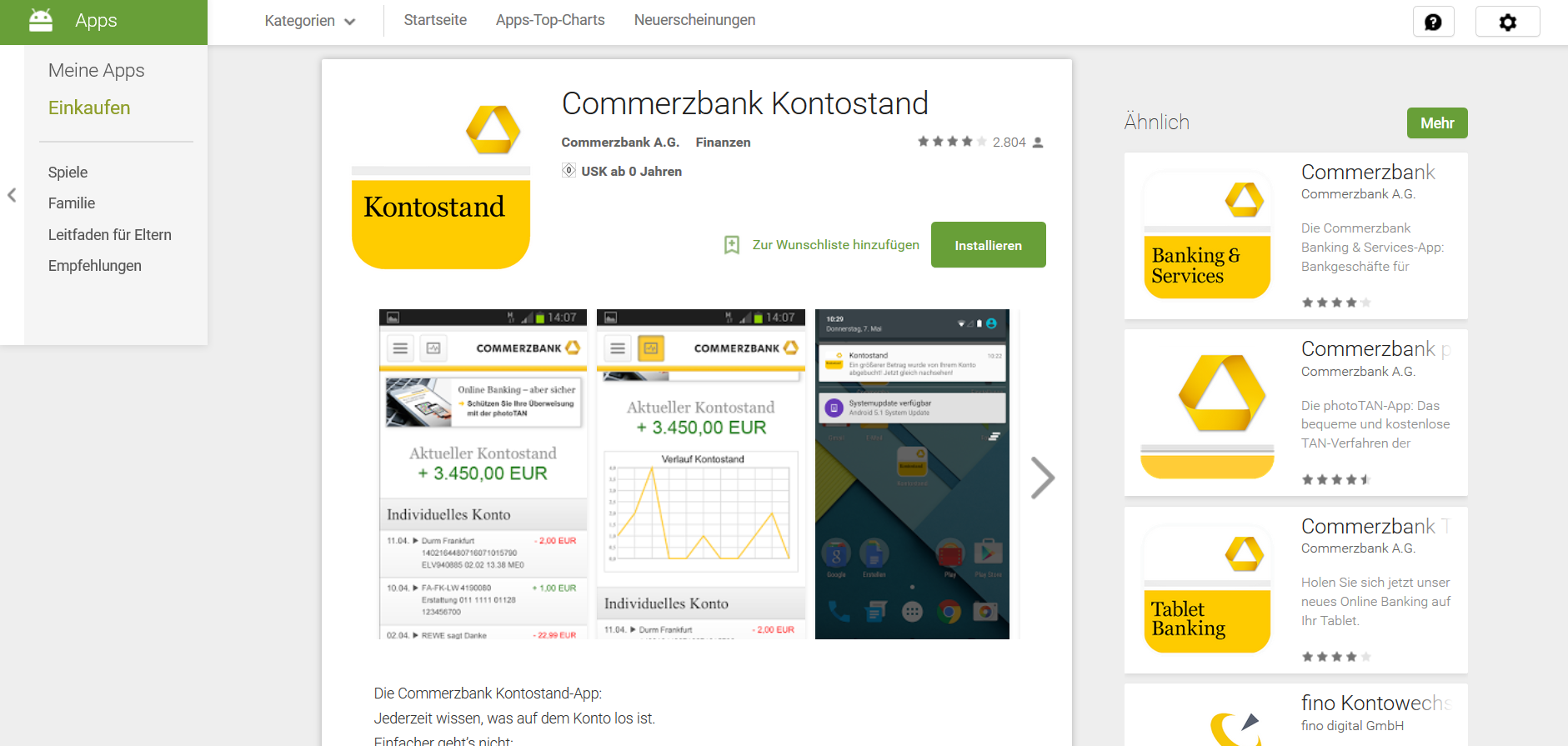 Commerzbank Kontostand im Google Play Store