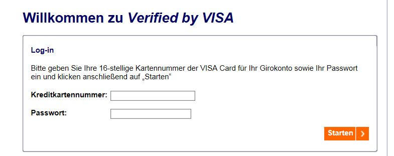 Log-in zum Verified by Visa-System