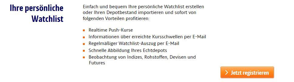 Alle Vorteile der ING-DiBa Watchlist