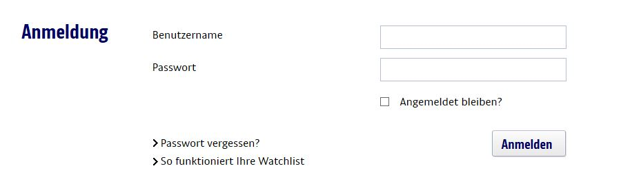 Der Log-In Bereich der Watchlist