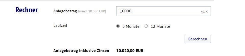 Der Zinsrechner für das Festgeldkonto
