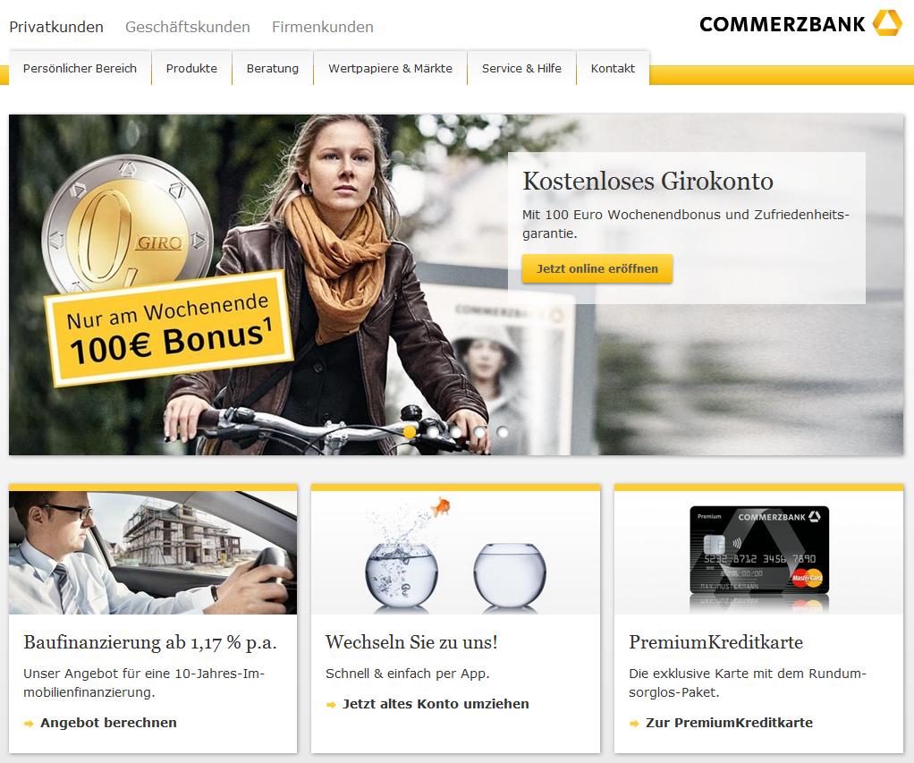 So sieht die Webseite der Commerzbank aus