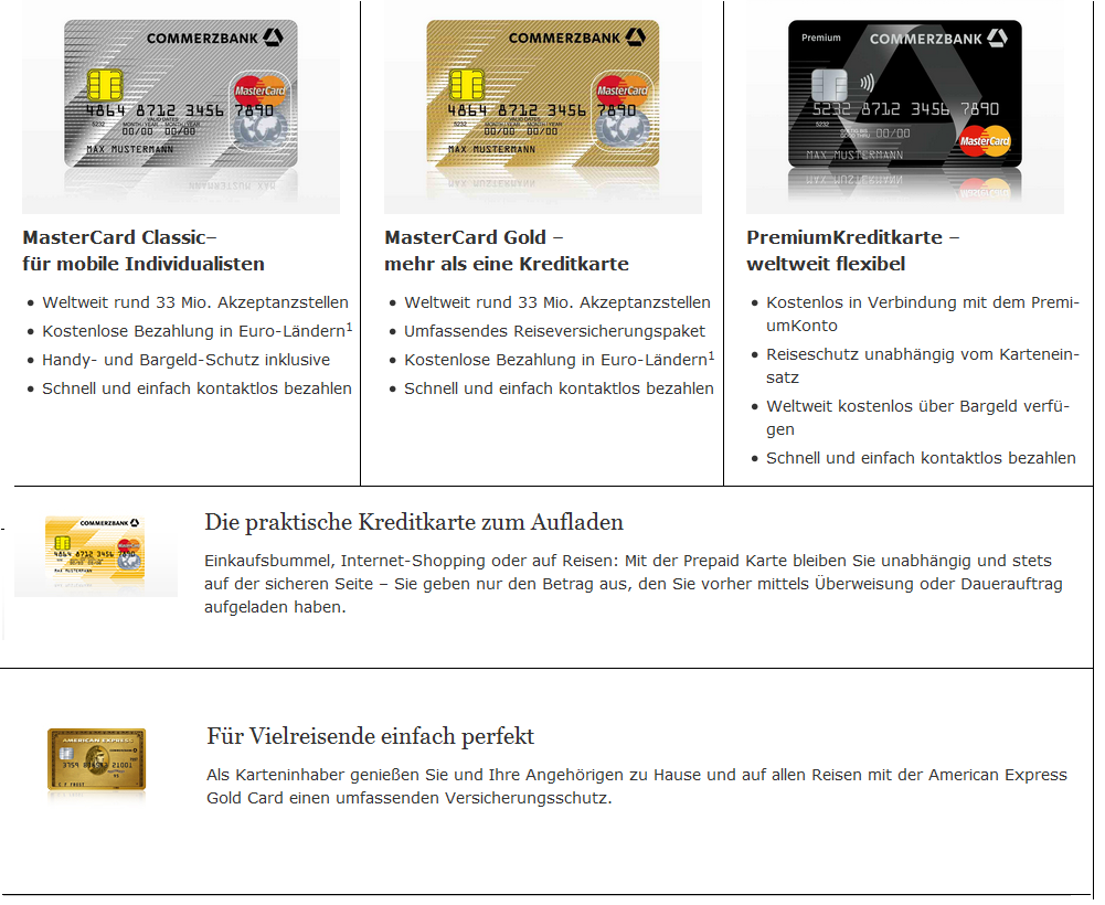 Das Kreditkartenangebot der Commerzbank
