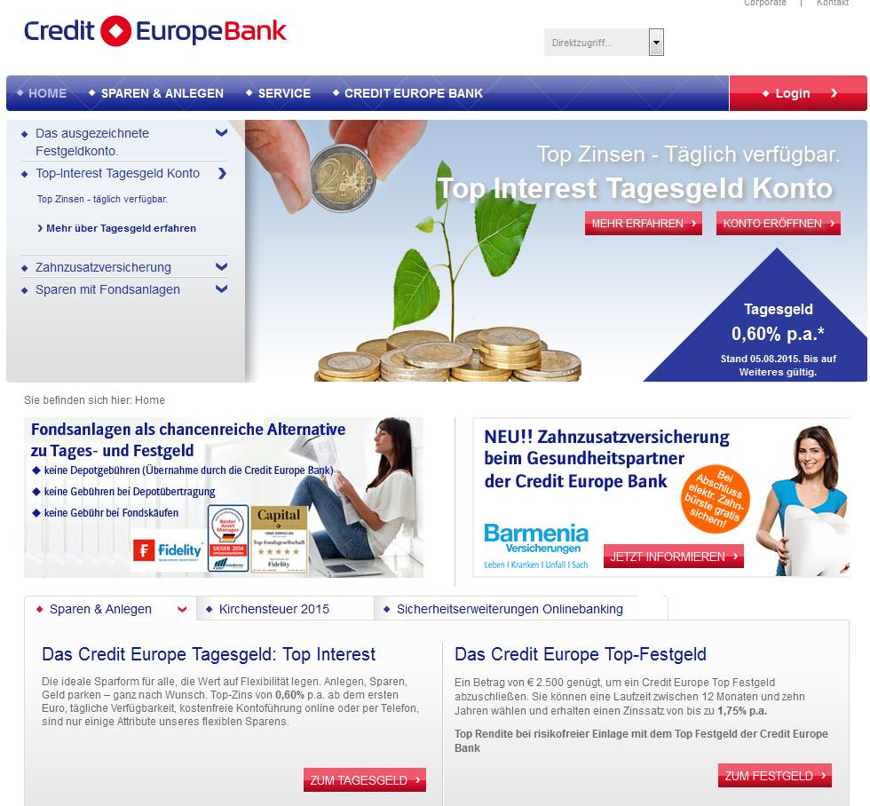 Webseite von Credit Europe