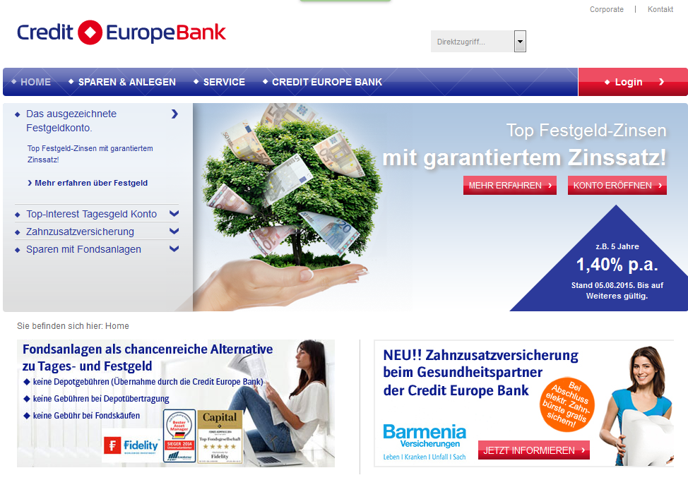 Gute Tagesgeldzinsen bei Credit Europe