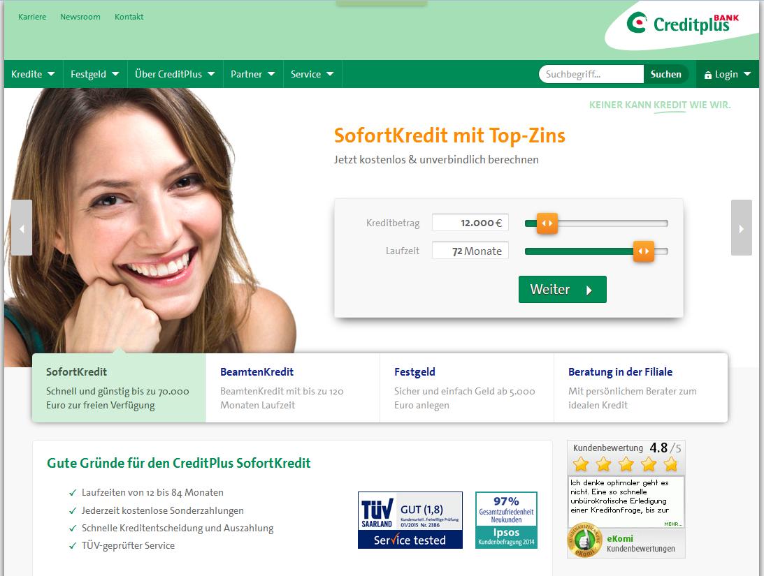 Der Webauftritt der CreditPlus Bank