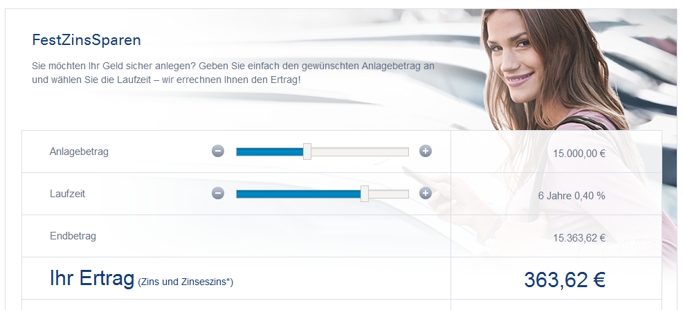 Festgeldrechner der Deutschen Bank