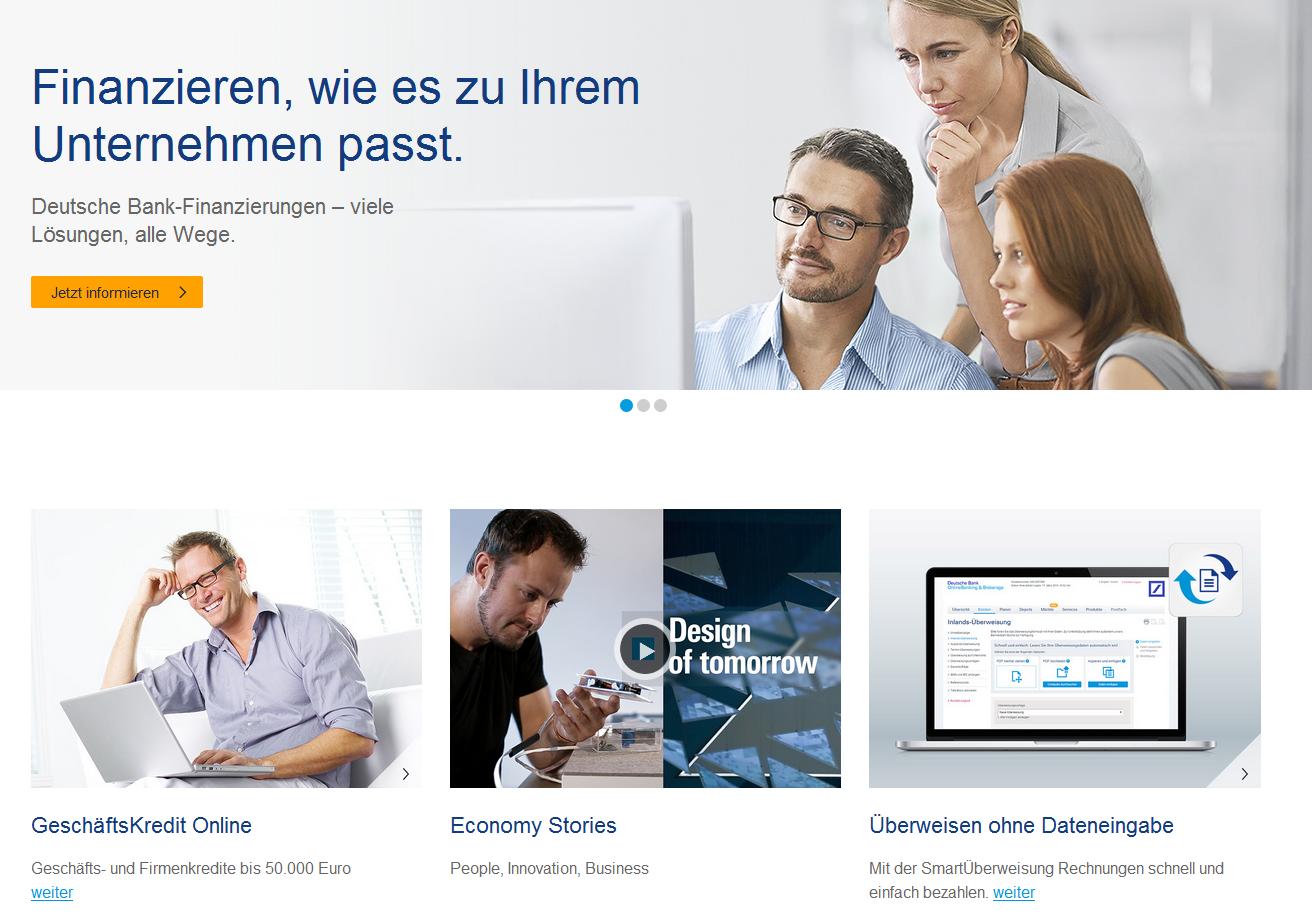 Das Geschäftskundenangebot der Deutschen Bank
