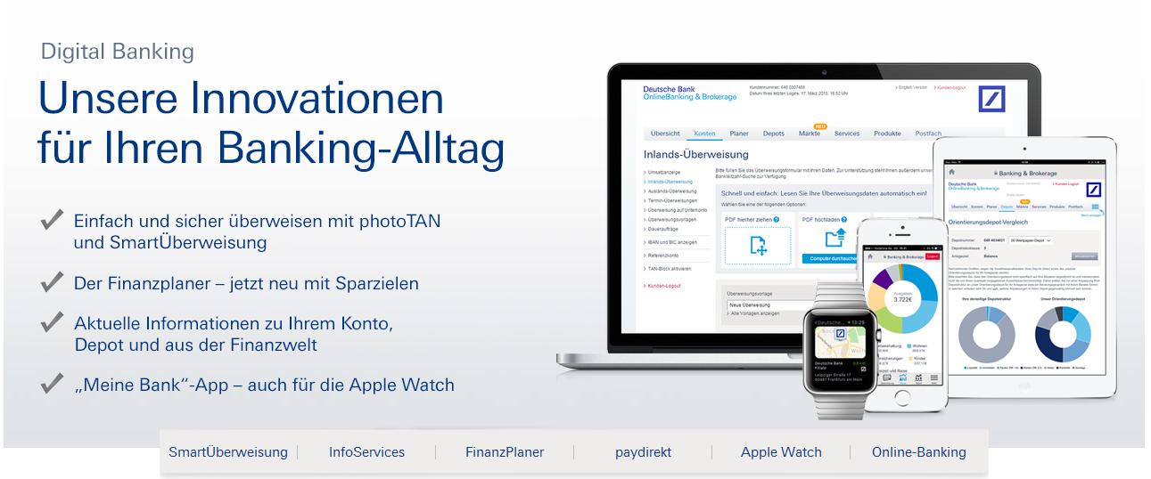 Auch Mobile Banking ist bei der Deutschen Bank möglich