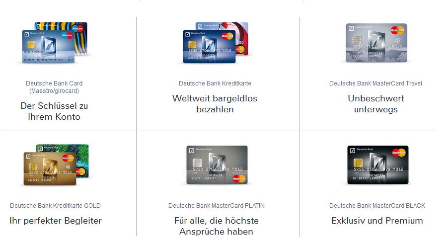 Die Kreditkarten bei der Deutschen Bank