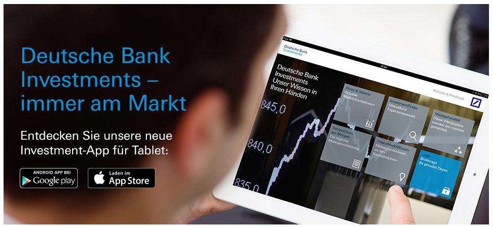 Kostenlose InvestmentApp der Deutschen Bank