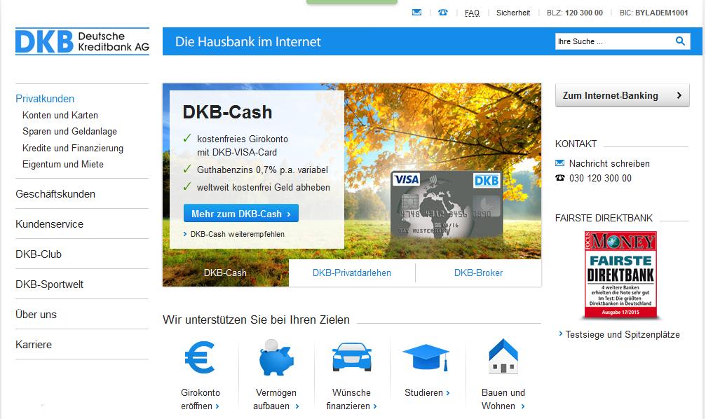 Die Webseite der DKB Bank