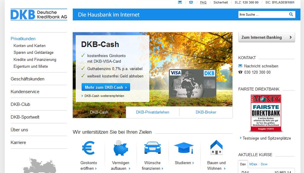 Die Webpräsenz der DKB Bank