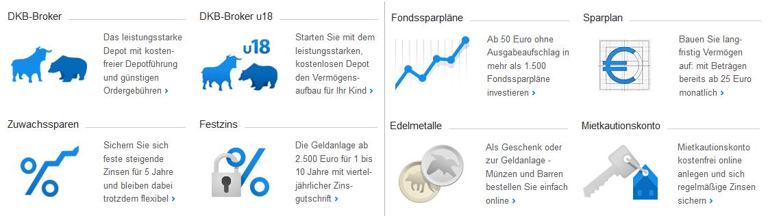 Spar- und Anlageangebote der DKB Bank