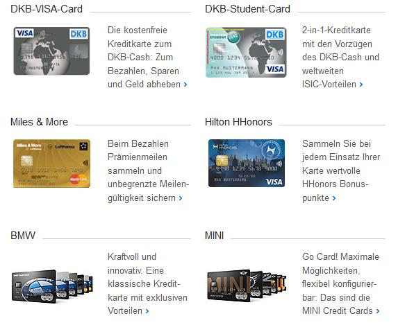 Die Kreditkartenauswahl der DKB Bank