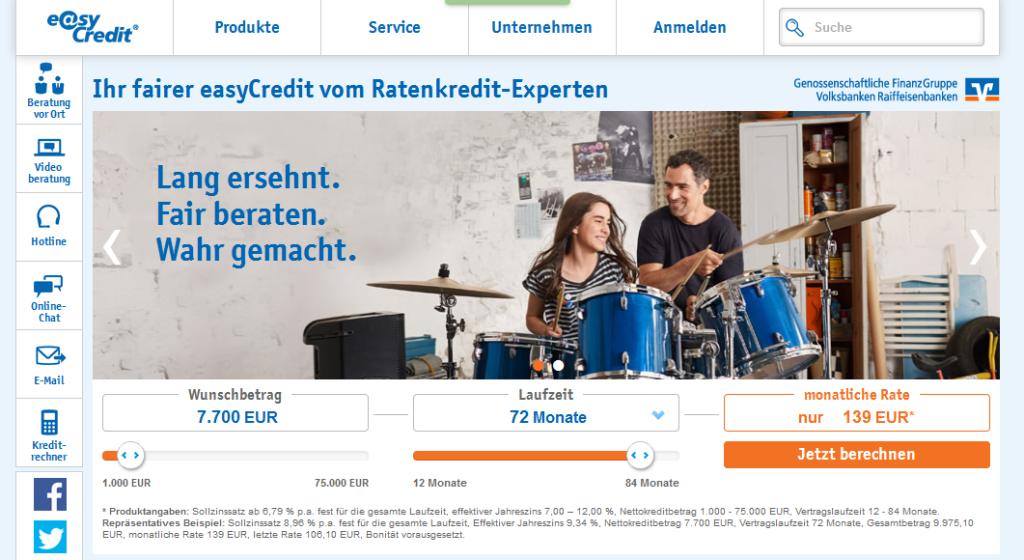 Die Homepage von easyCredit