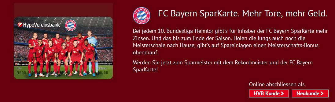 Die Bayern SparKarte der HypoVereinsbank