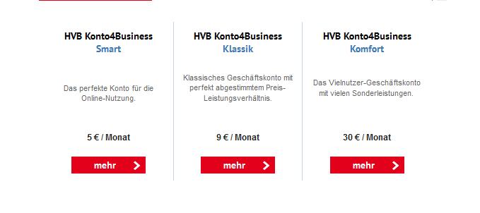 Kontovarianten für Geschäftskunden