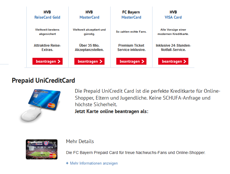 Kreditkartenangebot der HypoVereinsbank