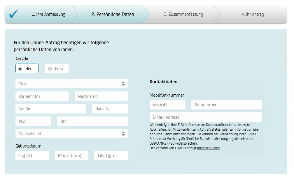 Das Registrierungsformular der HypoVereinsbank