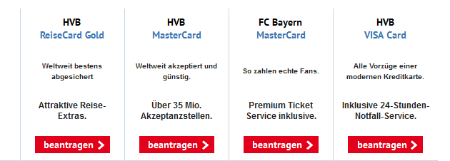 Die Kreditkarten der HypoVereinsbank