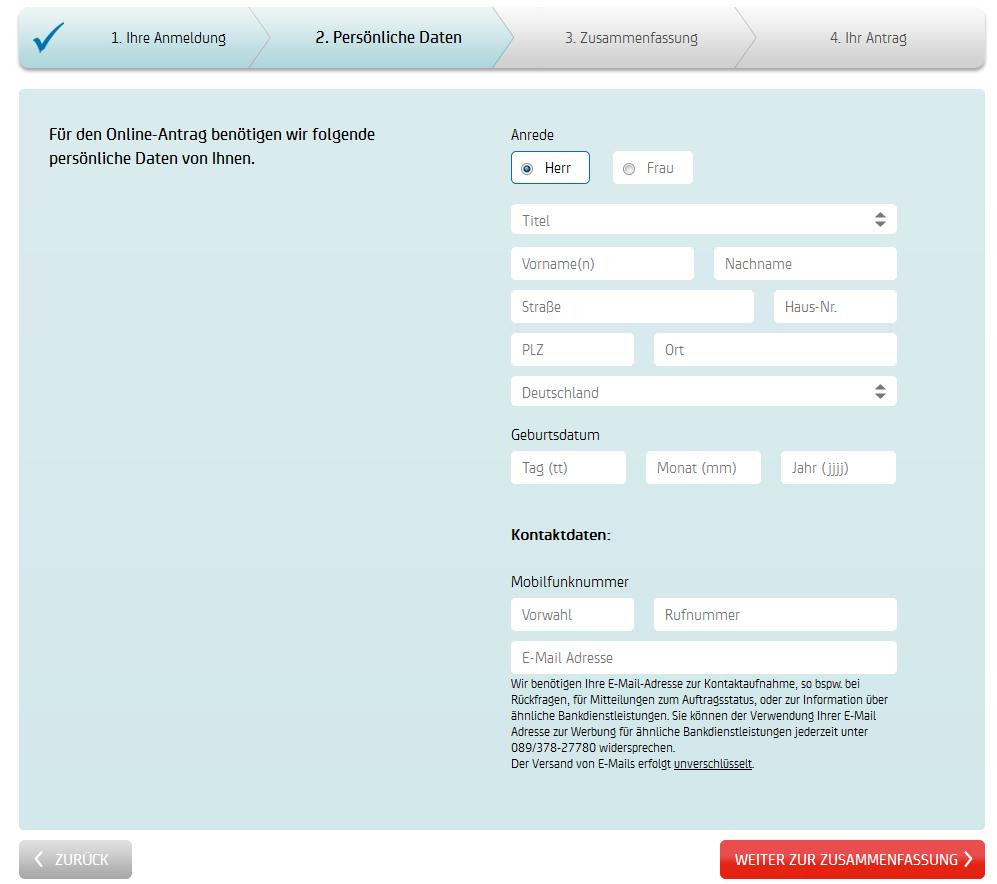 Registrierungsformular bei der HypoVereinsbank
