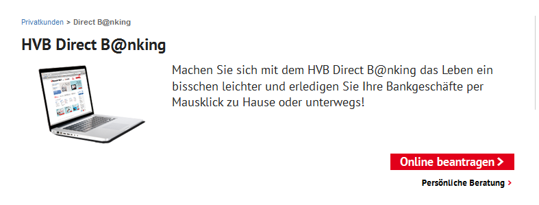 Die Nutzung des HVB Direct Bankings ist kostenlos