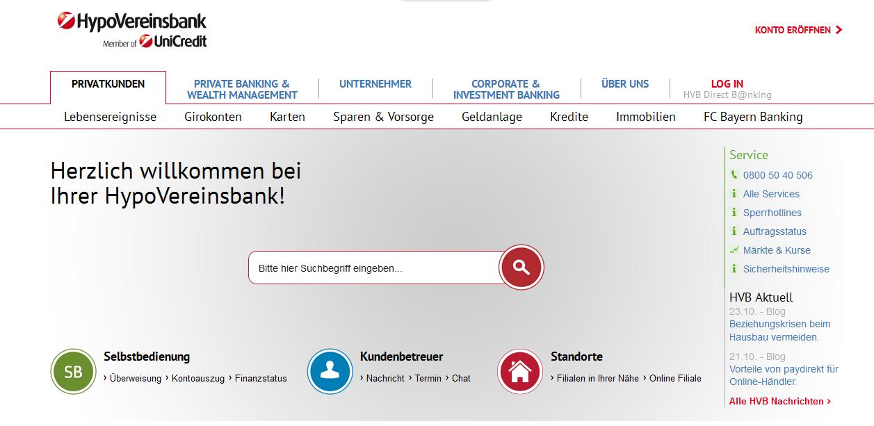 Die Homepage der HypoVereinsbank